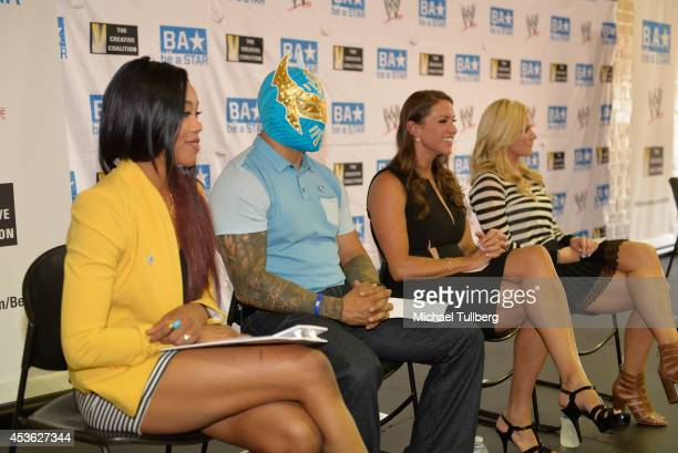 WWE Diva Alicia Fox WWE Superstar wrestler Sin Cara WWE Chief Brand Officer Stephanie McMahon and WWE announcer Renee Young attend the 'Be A STAR'...