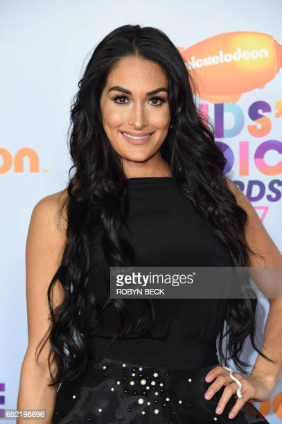 WWE Diva and actress Nikki Bella arrives for the 30th Annual Nickelodeon Kids' Choice Awards March 11 2017 at the Galen Center on the University of...