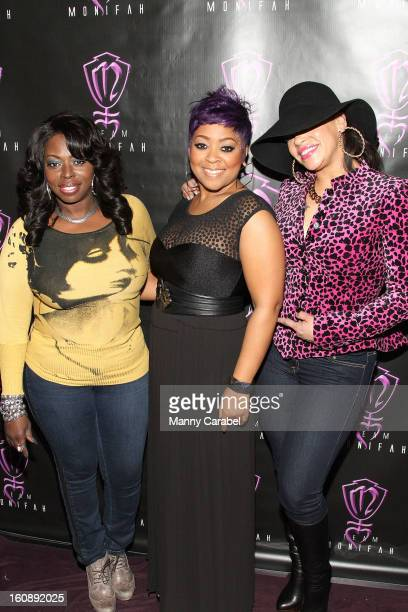 Diva Angie Stone Recording Artist/RB Diva Monifah Carter and RB Diva Faith Evans attend Monifah's 'In Her Skin' Showcase at Katra Lounge on February...