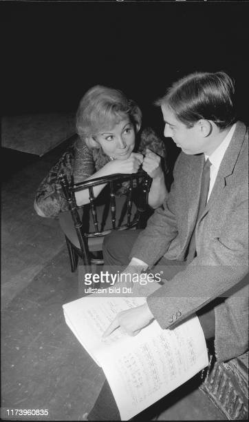 Diva Anneliese Rothenberger and director M. Hampe rehearsing; Zurich 1967 Diva Anneliese Rothenberger and director M. Hampe rehearsing; Zurich 1967