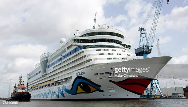 Diva cruiser ship is seen during leaving the Meyer Papenburg shipyard on March 10 2007 in Papenburg Germany