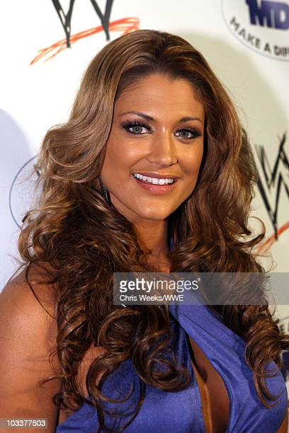 WWE Diva Eva Torres arrives at the WWE SummerSlam Kickoff Party held at the Tropicana Bar at The Hollywood Rooselvelt Hotel on August 13 2010 in...