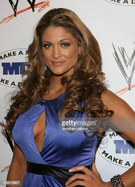 Diva Eva Torres arrives for the WWE SummerSlam KickOff Party at Tropicana Bar at The Hollywood Rooselvelt Hotel on August 13 2010 in Hollywood...