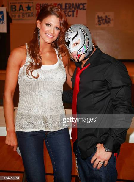 Diva Eve and Rey Mysterio attend the Creation Coalition and WWE hosts 'Be A Star' antibullying initiative rally at Algin Sutton Community Center on...