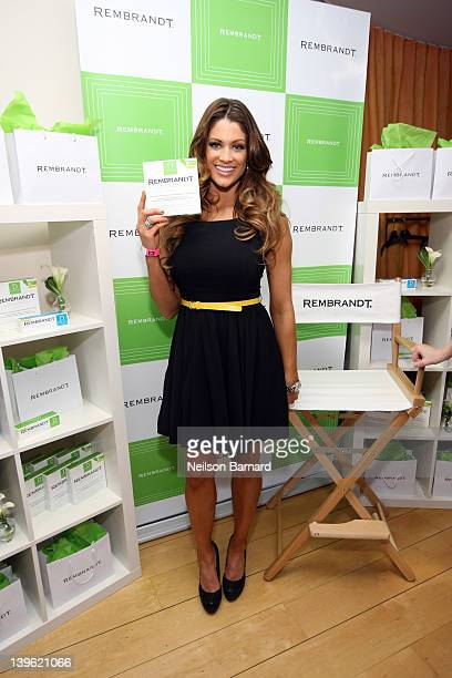 Diva Eve Marie Torres poses with Rembrandt at Kari Feinstein's Oscars Style Lounge at Mondrian Los Angeles on February 23 2012 in West Hollywood...