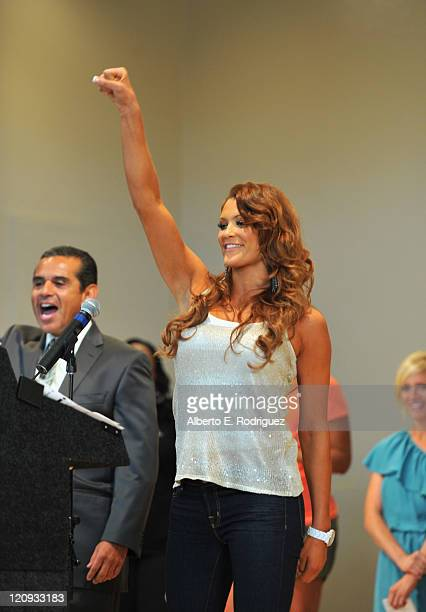 WWE Diva Eve Torres attends the WWE and The Creative Coallition's Rally to support the be a star AntiBullying Alliance on August 12 2011 in Los...