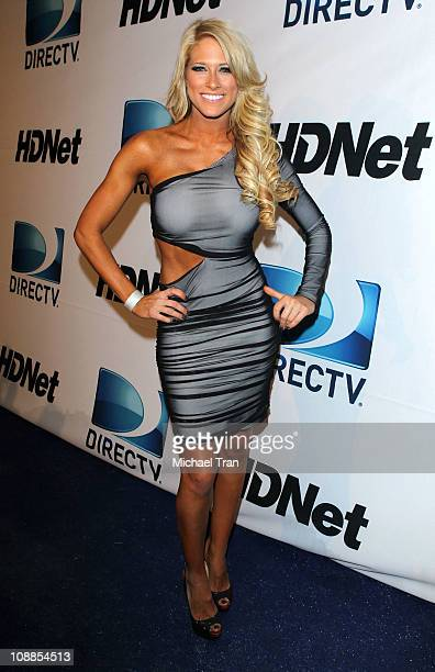 Diva Kelly Kelly arrives at Super Bowl Party hosted by DIRECTV and Mark Cuban's HDNet at Victory Park on February 5 2011 in Dallas Texas