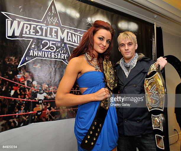 Diva Maria Kanellis and singer Aaron Carter attend WWE's opening night party honoring the 25th Anniversary of WrestleMania and 20th Century Fox/WWE's...