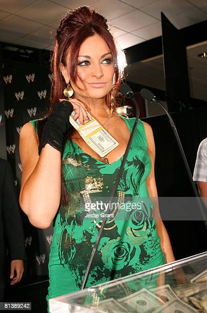 Diva Maria Kanellis attends a press conference announcing that WWE Chairman Vince McMahon will be giving away one million dollars each week on USA...