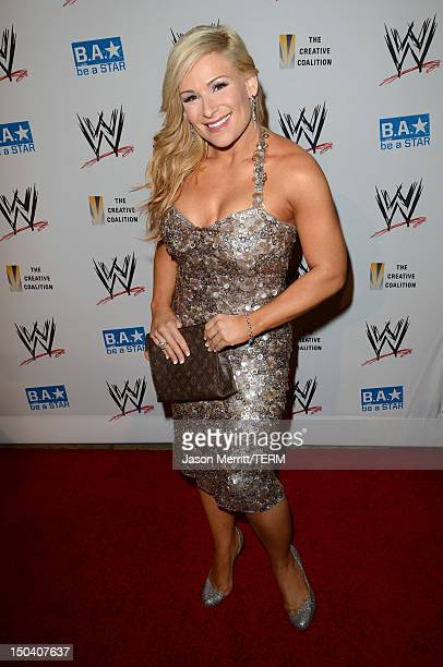Diva Natalya attends the WWE SummerSlam VIP KickOff Party at Beverly Hills Hotel on August 16 2012 in Beverly Hills California