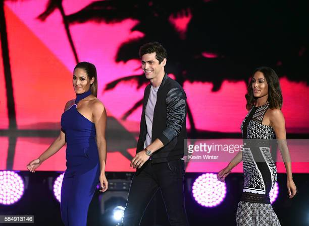 WWE Diva Nikki Bella actor Matthew Daddario and WWE Diva Brie Bella speak onstage during Teen Choice Awards 2016 at The Forum on July 31 2016 in...