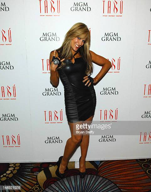 Diva Ring announcer Friday Night Smack Down Lilian Garcia arrives at the Tabu Ultra Lounge at the MGM Grand Hotel/Casino on July 13 2012 in Las Vegas...