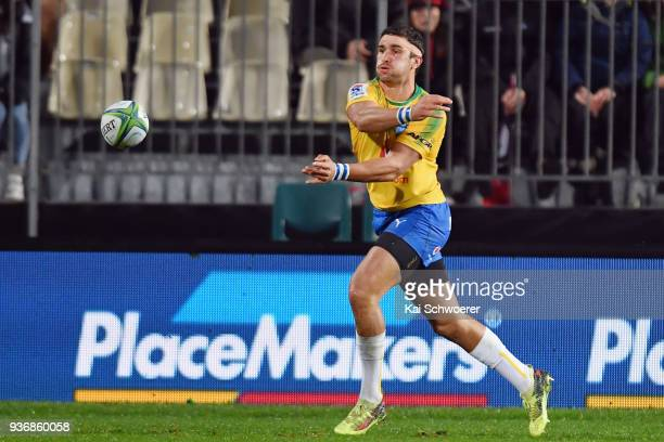 Divan Rossouw of the Bulls passes the ball during the round six Super Rugby match between the Crusaders and the Bulls on March 23 2018 in...
