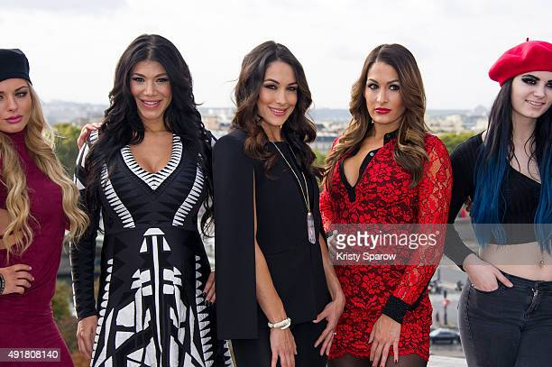 Divas Amanda Saccomanno aka 'Mandy' Milena Roucka aka 'Rosa' Brie Bella Nikki Bella and Britani Knight aka 'Paige' attend a photocall to promote...