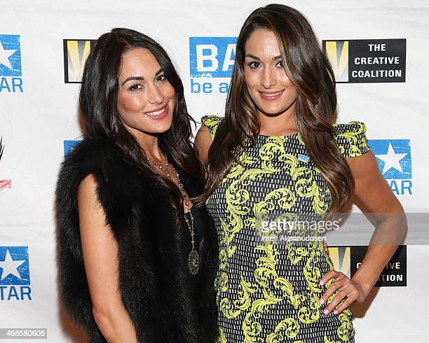 Divas Brie Bella and Nikki Bella attend a Be A STAR Bullying Prevention Rally presented by WWE And The Creative Coalition at James Madison Middle...