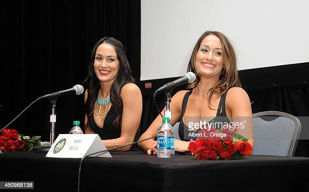 Divas Brie Bella and Nikki Bella of The Bella Twins attend Wizard World Philadelphia Comic Con 2014 Day 2 held at Pennsylvania Convention Center on...