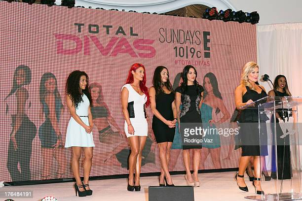WWE Divas Jojo Eva Marie Nikki and Brie Bella Natalya and Cameron attend the WWE SummerSlam Press Conference at Beverly Hills Hotel on August 13 2013...