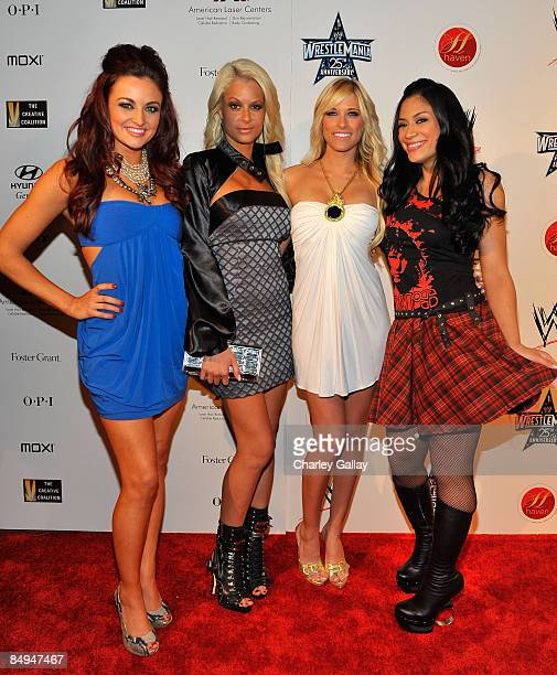 Divas Maria Kanellis, Kelly Kelly, Maryse, and Melina attend WWE's opening night party honoring the 25th Anniversary of WrestleMania and 20th Century...