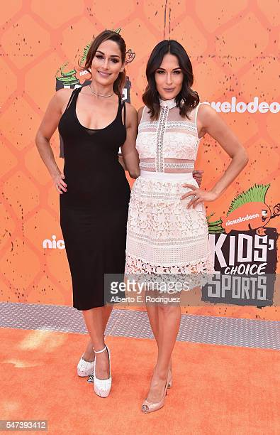 Divas Nikki Bella and Brie Bella attend the Nickelodeon Kids' Choice Sports Awards 2016 at UCLA's Pauley Pavilion on July 14 2016 in Westwood...