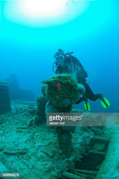 Diver and Engine Order Telegraph at Destroyer USS Lamson Marshall Islands Bikini Atoll Micronesia Pacific Ocean