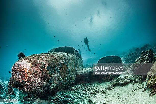 diver and plane wreck