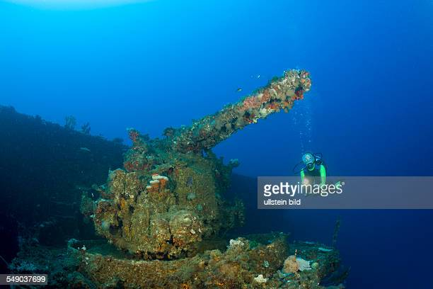Diver at 5-inch Gun of USS Saratoga, Marshall Islands, Bikini Atoll, Micronesia, Pacific Ocean