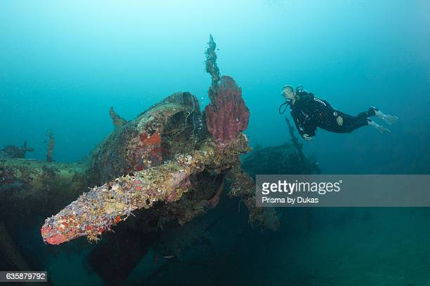 Diver at Kawanishi H6K5 Flyingboat Wreck Florida Islands Solomon Islands