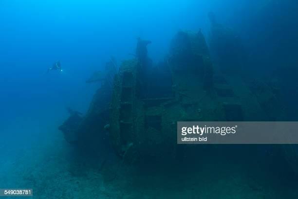 Diver at the Bridge of HIJMS Nagato Battleship, Marshall Islands, Bikini Atoll, Micronesia, Pacific Ocean