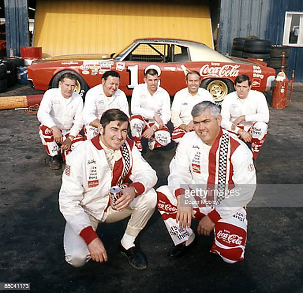 Diver Bobby Allison and Junior Johnson team pose before the Winston Western 500 race on January 23 1972 at the Riverside International Raceway in...
