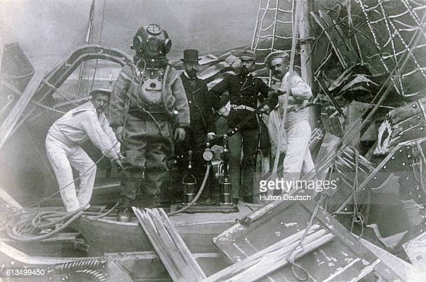 A diver in a scene from a film by the early French cinematographer Georges Melies He was the first person to use painted backdrops when making films