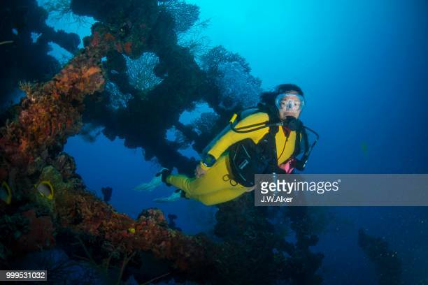 Diver in the wreck of the Iro Maru, fleet oil tanker sunk by torpedo attack in 1944, Palau
