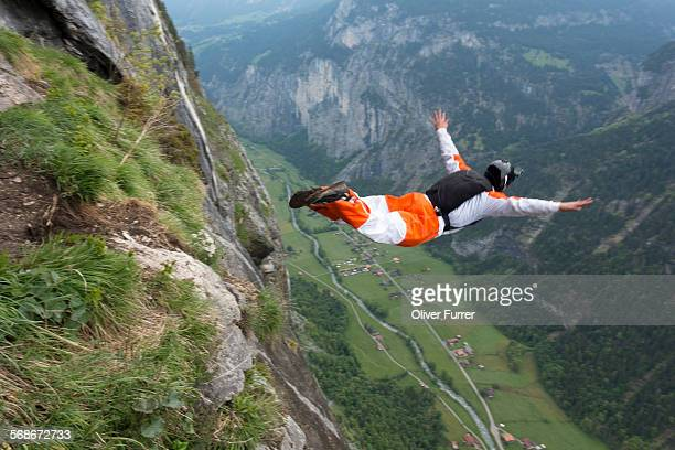 BASE diver jumped down the valley