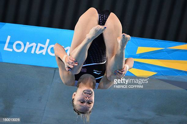 US diver Katie Bell competes in the women's 10m platform preliminary round during the diving event at the London 2012 Olympic Games on August 8 2012...