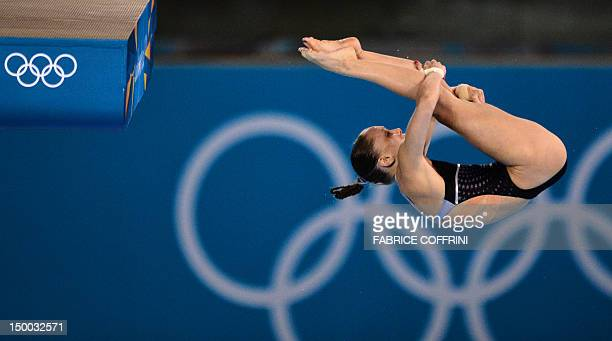 Diver Katie Bell competes in the women's 10m platform semi-finals during the diving event at the London 2012 Olympic Games on August 9, 2012 in...