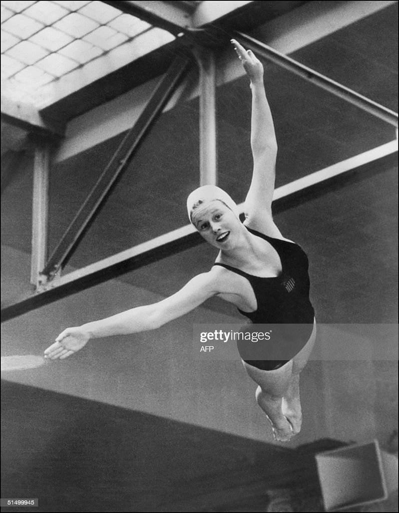 US diver Marjorie Gestring floats through the air : News Photo