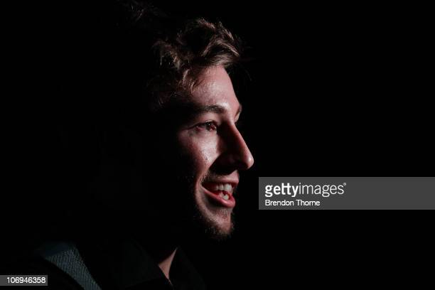 Diver Matthew Mitcham addresses the media after winning the Male Athlete of the Year Award at the 2010 NSWIS Awards Night at Randwick Pavilion on...
