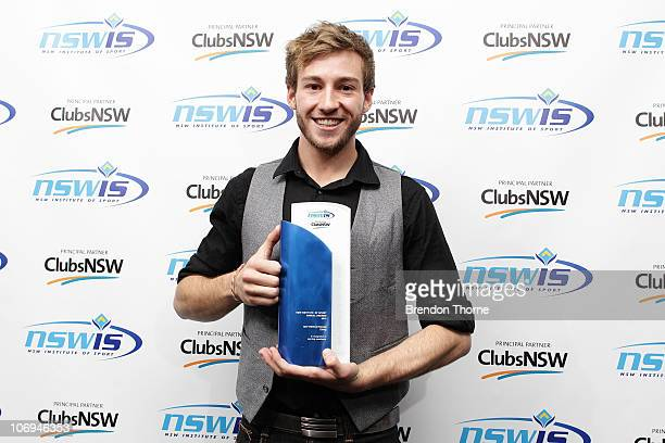 Diver Matthew Mitcham poses with his award for Male Athlete of the Year at the 2010 NSWIS Awards Night at Randwick Pavilion on November 18, 2010 in...
