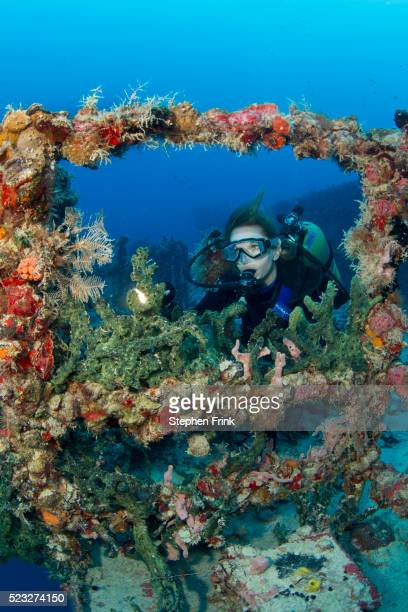 Diver on artificial reef