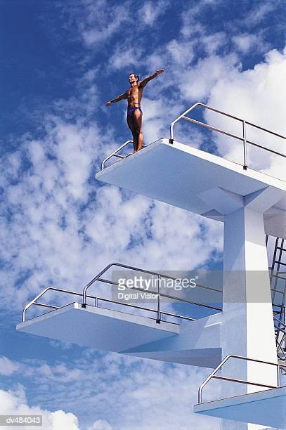Diver on high platform