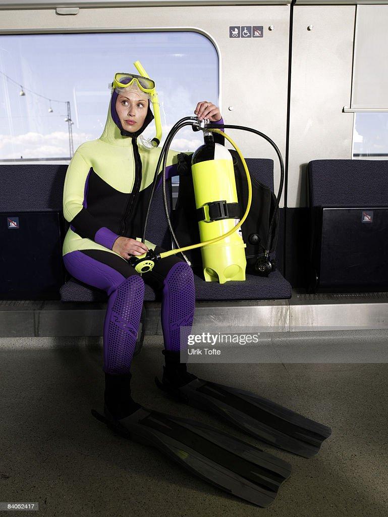 Diver on train : Stock Photo