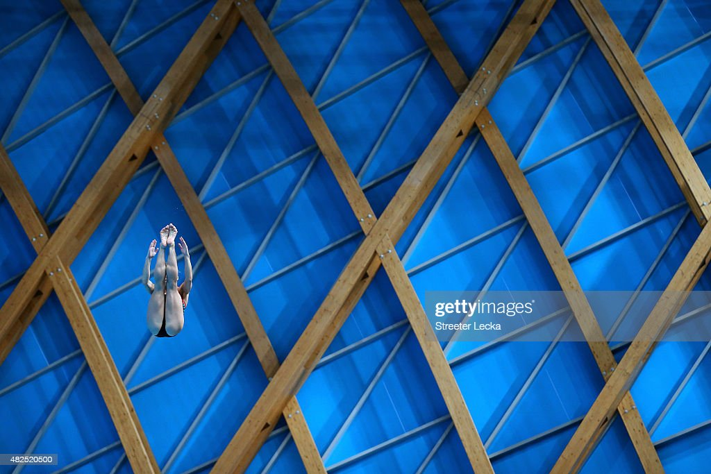 A diver practices for the Women's 3m Springboard Diving on day seven of the 16th FINA World Championships at the Aquatics Palace on July 31, 2015 in Kazan, Russia.