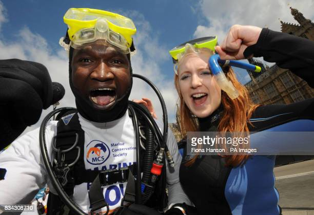 Diver Stephane Tindame , a member of the Marine Conservation Society from Dover, and Marie Lewis from London, campaigning in Westminster for the...