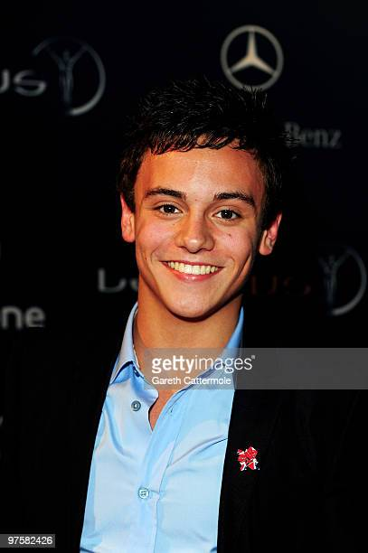 Diver Tom Daly attends the Laureus Welcome Party part of the Laureus Sports Awards 2010 at the Fairmount Hotel on March 92010 in Abu DhabiUnited Arab...