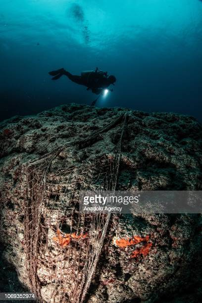 A diver with a flashlight passes over a rock at the Samandag Cevlik Akcay diving site off the coasts of Samandag near the Turkey Syria border in...