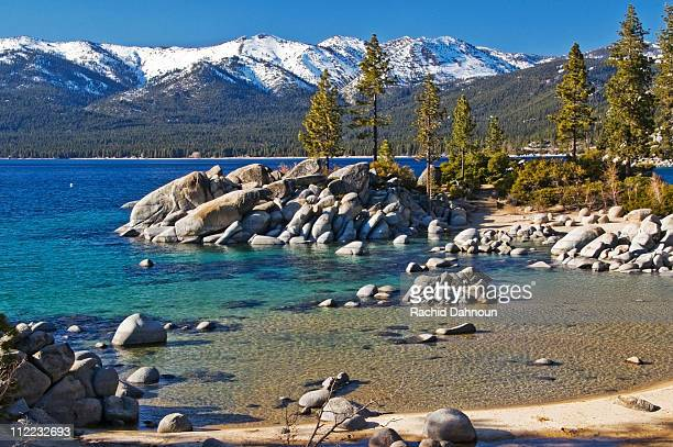 divers cove at sand harbor on the east shore of lake tahoe in the summer, nv - lake tahoe stock pictures, royalty-free photos & images