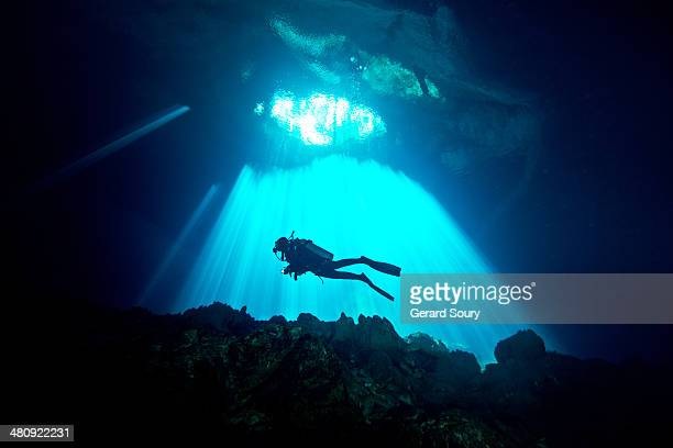 divers diving in a cenote - scuba diving stock pictures, royalty-free photos & images