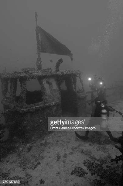 Divers explore the massive USS Spiegel Grove shipwreck in Key Largo, Florida.