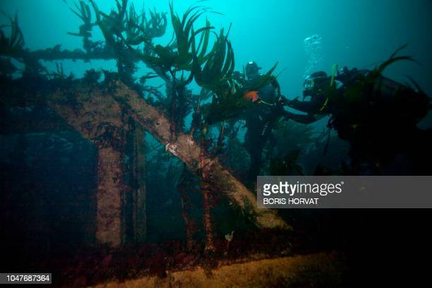 Divers explore the wreckage of the super tanker AmocoCadiz at 25 meters of depth off the coast of Portsall northwestern France on October 5 2018 His...