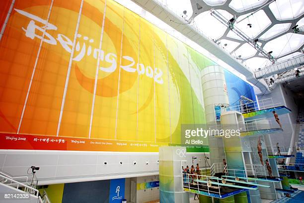 Divers practice in the National Aquatics Center ahead of the Beijing 2008 Olympic Games on August 1 2008 in Beijing China
