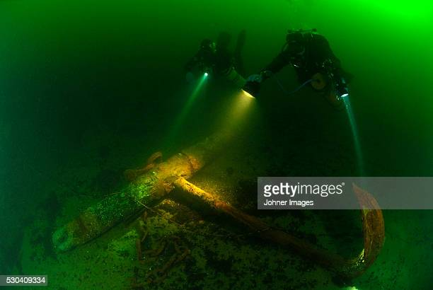 Divers swimming next to ship wreck